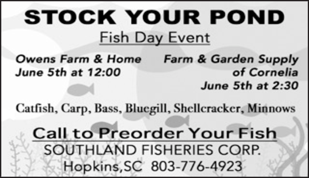 Stock Your Pond, Fish Day Event in Hopkins, SC, Feed Store