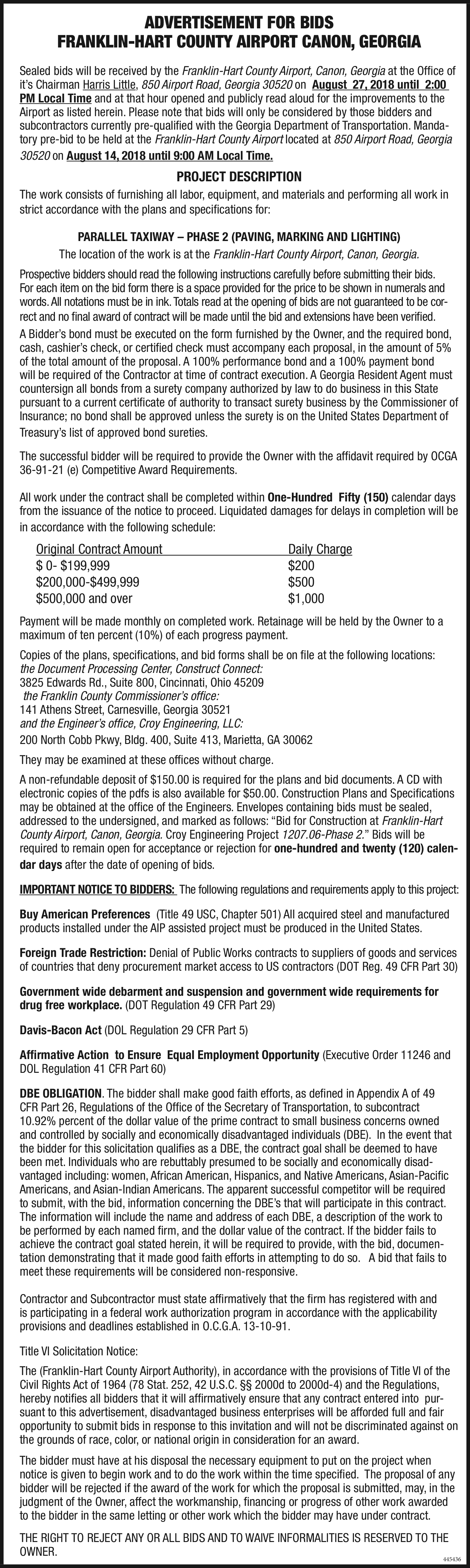 Now Advertisement For Bids in Royston, GA, Airport - Hart